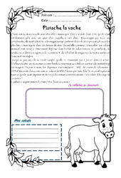 Pistache la vache - 1 histoire 1 problème : 4eme Primaire