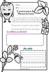 L'anniversaire de Thérèse la fraise - 1 histoire 1 problème : 1ere Primaire