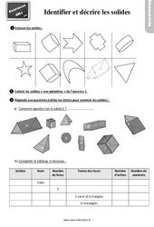 Exercices, révisions sur décrire et reconnaitre des solides : 4eme Primaire