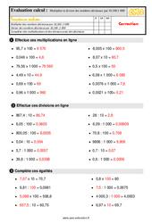 Évaluation, bilan sur multiplier et diviser des nombres décimaux par 10 ,100,1 000 au  avec la correction : 5eme Primaire