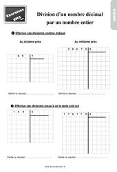Exercices, révisions sur la division d'un nombre décimal par un entier au  avec les corrections : 5eme Primaire