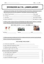 Present perfect - Exercices corrigés en anglais : 1ere Secondaire