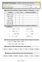 Évaluation, bilan sur comparer et ranger des nombres décimaux -  avec les corrigés : 5eme Primaire