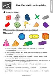 Exercices, révisions sur identifier et décrire les solides : 5eme Primaire