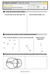 Exercices, révisions sur tracer des cercles au  avec les corrections : 4eme Primaire
