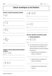 Fractions - Exercices corrigés sur les calculs numériques : 3eme Secondaire