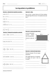 Equations et problèmes - Exercices corrigés : 3eme Secondaire