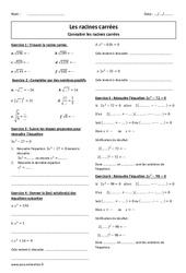 Racines carrées - Exercices corrigés à imprimer : 3eme Secondaire