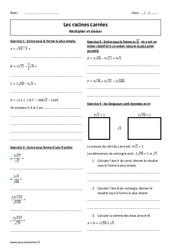 Racines carrées - Diviser et  multiplier - Révisions brevet : 3eme Secondaire