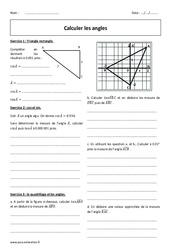 Calculer les angles - Révisions brevet - Cosinus et sinus : 3eme Secondaire