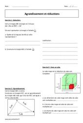 Agrandissement et réductions - Exercices corrigés : 3eme Secondaire