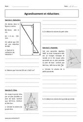 Réductions et agrandissement - Cône et pyramide - Révisions brevet : 3eme Secondaire