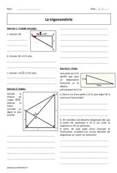 Cosinus, sinus , tangente - Révisions brevet sur la trigonométrie : 3eme Secondaire