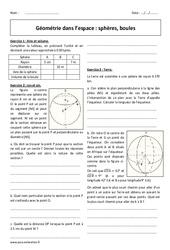 Géométrie dans l'espace - Révisions brevet sur les sphères et les boules : 3eme Secondaire