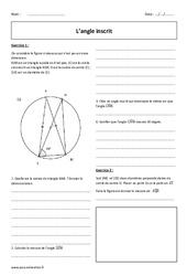 Angle inscrit - Exercices corrigés : 3eme Secondaire