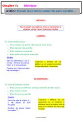 Résoudre des problèmes utilisant les quatre opérations - Cours : 6eme Primaire