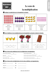Exercices, révisions sur le sens de la multiplication au  avec les corrections : 3eme Primaire