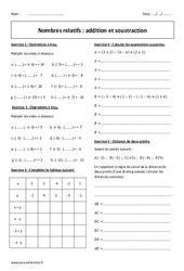 Addition et soustraction - Exercices corrigés sur les nombres relatifs : 2eme Secondaire