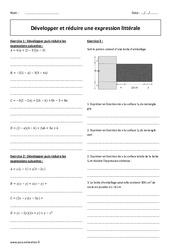 Réduire et développer une expression littérale - Exercices à imprimer : 2eme Secondaire
