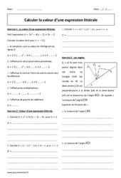 Calculer la valeur d'une expression littérale - Exercices corrigés : 2eme Secondaire