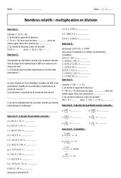Multiplication et division - Exercices - Nombres relatifs : 2eme Secondaire
