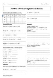 Division et multiplication - Exercices - Nombres relatifs : 2eme Secondaire
