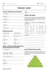 Puissances - Calculs - Exercices corrigés : 2eme Secondaire