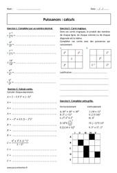Calculs - Exercices à imprimer sur les puissances : 2eme Secondaire