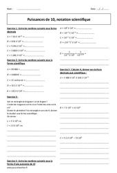 Puissances de 10 - Notation scientifique - Exercices corrigés : 2eme Secondaire