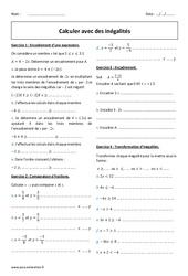Calculer avec des inégalités - Exercices corrigés : 2eme Secondaire