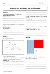 Résoudre des problèmes avec une équation - Exercices avec correction : 2eme Secondaire