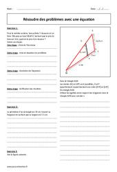 Résolution de problèmes avec une équation - Exercices à imprimer : 2eme Secondaire