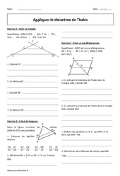 Appliquer le théorème de Thalès - Exercices corrigés : 2eme Secondaire