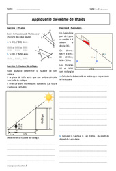 Théorème de Thalès - Exercices à imprimer : 2eme Secondaire