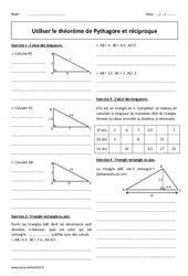 Utiliser le théorème de Pythagore et réciproque - Exercices à imprimer : 2eme Secondaire