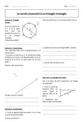 Cercle circonscrit - Triangle rectangle - Exercices corrigés : 2eme Secondaire