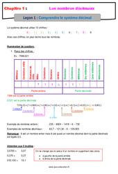 Comprendre le système décimal - Cours sur les nombres décimaux : 6eme Primaire