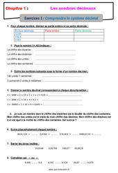 Comprendre le système décimal - Révisions - Exercices avec correction sur les nombres décimaux : 6eme Primaire