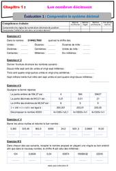 Comprendre le système décimal - Examen Evaluation avec la correction sur les nombres décimaux : 6eme Primaire