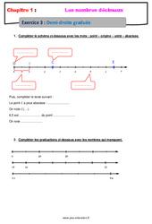 Demi - droite graduée - Révisions - Exercices avec correction sur les nombres décimaux : 6eme Primaire