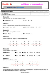 Addition des nombres décimaux - Examen Evaluation, bilan, contrôle avec la correction : 6eme Primaire
