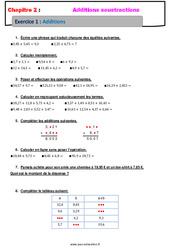 Addition des nombres décimaux - Révisions - Exercices avec correction : 6eme Primaire
