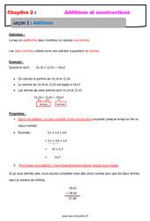 Addition des nombres décimaux - Cours : 6eme Primaire
