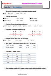 Soustraction des nombres décimaux - Révisions - Exercices avec correction : 6eme Primaire