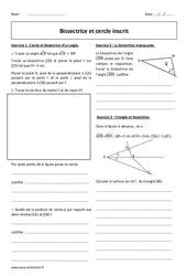 Cercle inscrit - Bissectrice - Exercices à imprimer : 2eme Secondaire