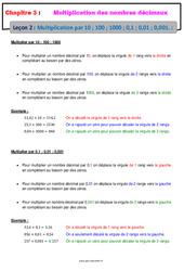 Multiplication des nombres décimaux par 10 ; 100 ; 1000 ; 0,1, ; 0,01 ; 0,001 - Cours : 6eme Primaire