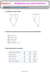 Priorité des opérations - Révisions - Exercices avec correction - Multiplication des nombres décimaux : 6eme Primaire