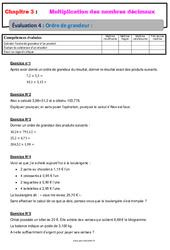 Ordre de grandeur d'un produit - Examen Evaluation avec la correction - Multiplication des nombres décimaux : 6eme Primaire