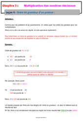 Ordre de grandeur d'un produit - Cours - Multiplication des nombres décimaux : 6eme Primaire