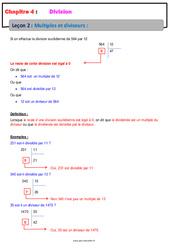 Multiples et diviseurs - Cours - Divisions : 6eme Primaire